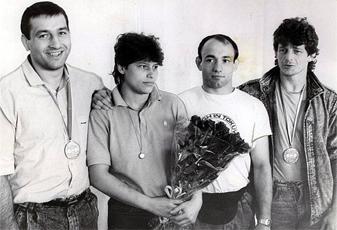 ME 1989. Zleva J. Sosna, L. Šindlerová, P. Šedivák, P. Petřikov